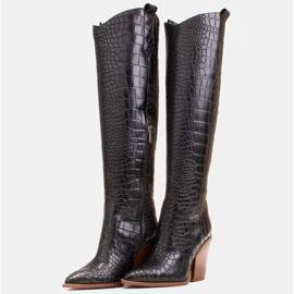 Marco Shoes Hohe Stiefel für Damen Cowboystiefel, Krokomuster schwarz 4