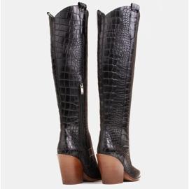 Marco Shoes Hohe Stiefel für Damen Cowboystiefel, Krokomuster schwarz 5
