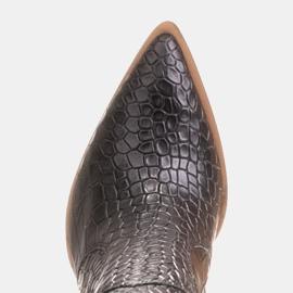 Marco Shoes Hohe Stiefel für Damen Cowboystiefel, Krokomuster schwarz 7
