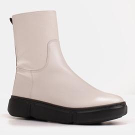 Marco Shoes Sportliche weiße Stiefelette aus weichem Naturleder 2