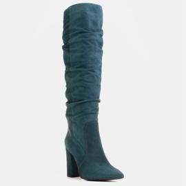 Marco Shoes Grüne hohe Crinkle-Stiefel aus naturbelassenem Wildleder 1