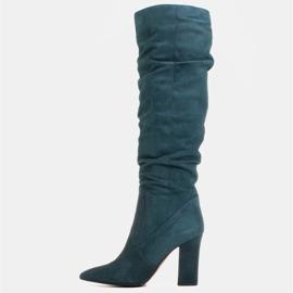Marco Shoes Grüne hohe Crinkle-Stiefel aus naturbelassenem Wildleder 2
