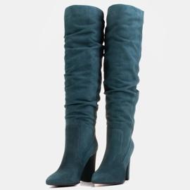 Marco Shoes Grüne hohe Crinkle-Stiefel aus naturbelassenem Wildleder 5
