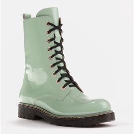 Marco Shoes Hohe Stiefeletten, Stiefel auf einer durchscheinenden Sohle gebunden grün 1
