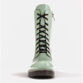Marco Shoes Hohe Stiefeletten, Stiefel auf einer durchscheinenden Sohle gebunden grün 2