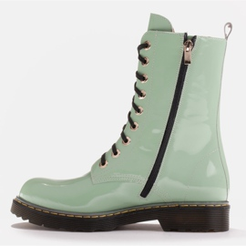 Marco Shoes Hohe Stiefeletten, Stiefel auf einer durchscheinenden Sohle gebunden grün 3