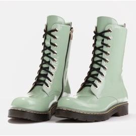 Marco Shoes Hohe Stiefeletten, Stiefel auf einer durchscheinenden Sohle gebunden grün 4