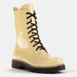 Marco Shoes Hohe Stiefeletten, Stiefel auf einer durchscheinenden Sohle gebunden gelb 1