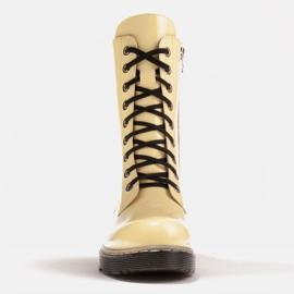 Marco Shoes Hohe Stiefeletten, Stiefel auf einer durchscheinenden Sohle gebunden gelb 2