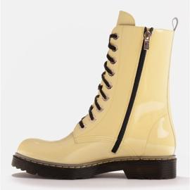 Marco Shoes Hohe Stiefeletten, Stiefel auf einer durchscheinenden Sohle gebunden gelb 3