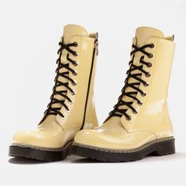 Marco Shoes Hohe Stiefeletten, Stiefel auf einer durchscheinenden Sohle gebunden gelb 4