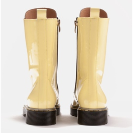 Marco Shoes Hohe Stiefeletten, Stiefel auf einer durchscheinenden Sohle gebunden gelb 5