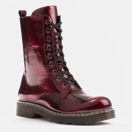 Marco Shoes Hohe Stiefeletten, Stiefel auf einer durchscheinenden Sohle gebunden rot 1