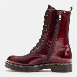 Marco Shoes Hohe Stiefeletten, Stiefel auf einer durchscheinenden Sohle gebunden rot 3