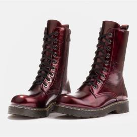 Marco Shoes Hohe Stiefeletten, Stiefel auf einer durchscheinenden Sohle gebunden rot 4